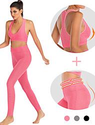 cheap -Women's Yoga Suit 2-Piece Black Fuchsia Pink Fitness Gym Workout Running High Waist Leggings Bra Top Sport Activewear Tummy Control Butt Lift Push Up High Elasticity Skinny