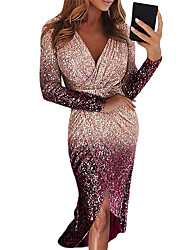 cheap -Women's Purple Blushing Pink Dress Basic Casual / Daily Bodycon Solid Colored Deep V S M