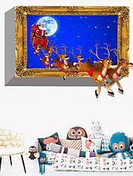 abordables -Stickers muraux décoratifs Noël cerf santa - stickers muraux animaux / stickers muraux de vacances décorations de Noël / salle d'étude de vacances / bureau / intérieur