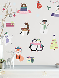 cheap -36pcs Merry Christmas Watercolor PVC Decoration Wall Sticker Penguin and Snowman Self-Adhesive Wallpaper for Children's Room