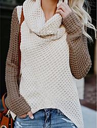 cheap -Women's Color Block Pullover Long Sleeve Sweater Cardigans Turtleneck White Blue Beige