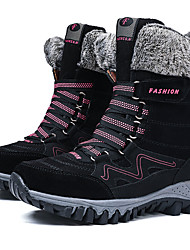 cheap -Women's Boots Snow Boots Flat Heel Round Toe Suede / PU Mid-Calf Boots Casual / British Hiking Shoes / Walking Shoes Spring & Summer / Fall & Winter Black / Wine / Fuchsia