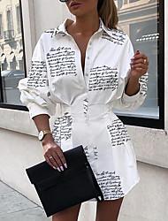 cheap -Women's A Line Dress White Long Sleeve Letter Shirt Collar Elegant S M L XL