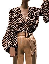 cheap -Women's Daily Shirt - Polka Dot / Striped Black