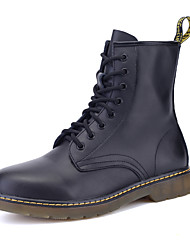 cheap -Men's Combat Boots Leather / Cowhide Fall & Winter Casual / British Boots Walking Shoes Warm Booties / Ankle Boots Black
