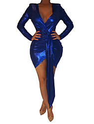 cheap -Women's Elegant Slim Sheath Dress - Solid Colored One Shoulder Blue S M L XL