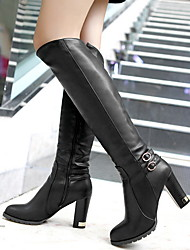 cheap -Women's Boots Chunky Heel Round Toe Synthetics Knee High Boots Fall & Winter Black / Brown / Khaki