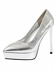 cheap -Women's Wedding Shoes Stiletto Heel Pointed Toe PU Minimalism Spring & Summer Black / Dark Grey / Champagne / Party & Evening