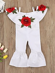 cheap -Baby Girls' Active Rose Solid Colored Embroidered / Lace up Sleeveless Overall & Jumpsuit White