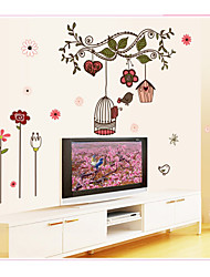 cheap -AY7102 cartoon tree branch pink bird cage flower vine home background decoration removable sticker
