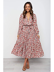 cheap -Women's Date Dress Street chic Sophisticated Swing Dress - Floral Bow Pleated Print White S M L XL