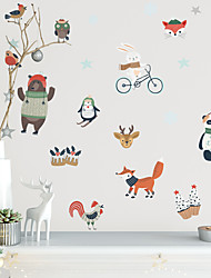 cheap -Merry Christmas Watercolor PVC Wall Sticker Bird Penguin and Owl Self-Adhesive Waterproof Wallpaper for Children's Room