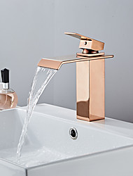 cheap -Bathroom Sink Faucet - Waterfall Rose Gold Centerset Single Handle One HoleBath Taps