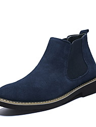 cheap -Men's Suede Shoes Suede Fall & Winter Boots Booties / Ankle Boots Black / Dark Blue / Gray