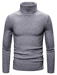 cheap -Men's Solid Colored Long Sleeve Pullover Sweater Jumper, Pullover Fall / Winter Black / Light gray / Blue M / L / XL