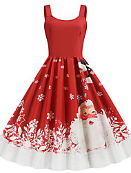 cheap -Women's Christmas Party Daily Wear Basic A Line Dress - Color Block Strap Red S M L XL