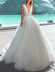 cheap -A-Line V Neck Court Train Tulle Made-To-Measure Wedding Dresses with Appliques by LAN TING Express