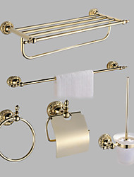 cheap -Bathroom Accessory Shelf Set Antique Brass 5pcs - Hotel bath Toilet Paper Holders / tower bar / tower ring