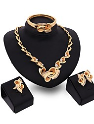 cheap -Women's Cubic Zirconia Bridal Jewelry Sets Geometrical Flower Classic Gold Plated Earrings Jewelry Gold For Party Gift 1 set