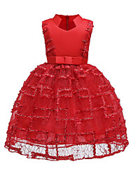 cheap -A-Line Medium Length Flower Girl Dress - Polyester / Satin / Poly&Cotton Blend Sleeveless Queen Anne with Petal / Lace / Splicing