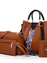 cheap -Women's Zipper PU Bag Set 4 Pieces Purse Set Black / Brown / White