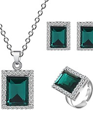 cheap -Women's Necklace Earrings Ring Geometrical Simple Vintage European Fashion Imitation Diamond Earrings Jewelry Gold / Green / Blue For Party Gift Daily Holiday Festival 1 set