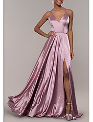 cheap -A-Line Spaghetti Strap Floor Length Stretch Satin Elegant Prom / Formal Evening Dress 2020 with Split Front