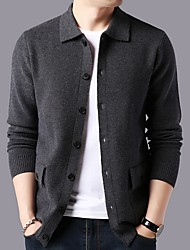 cheap -Men's Solid Colored Long Sleeve Cardigan Sweater Jumper, Turndown Black / Red / Camel L / XL / XXL