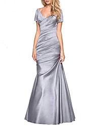 cheap -A-Line Plunging Neck Floor Length Satin Short Sleeve Elegant & Luxurious Mother of the Bride Dress with Ruching 2020