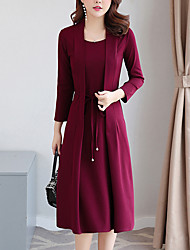 cheap -Women's Casual Daily Wear Basic Street chic Sheath Two Piece Dress - Solid Colored Lace up Black Wine Blue S M L XL