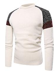 cheap -Men's Color Block Long Sleeve Pullover Sweater Jumper, Round Neck White / Dark Gray / Light gray M / L / XL