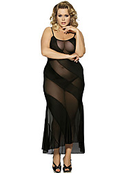 cheap -Women's Lace Plus Size Sexy Chemises & Gowns Nightwear Solid Colored Black M XL XXXL / Halter Neck
