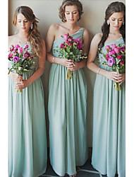 cheap -A-Line One Shoulder Floor Length Chiffon Bridesmaid Dress with Sash / Ribbon / Pleats