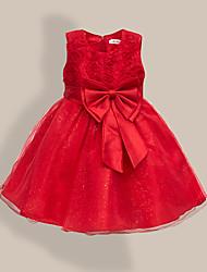 abordables -Enfants Bébé Fille Doux Le style mignon Fleur Couleur Pleine Noeud Sans Manches Mi-long Robe Bleu clair / Coton