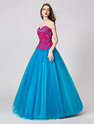 cheap -Ball Gown Sweetheart Neckline Floor Length Tulle Color Block Prom / Formal Evening Dress with Crystals / Pattern / Print 2020