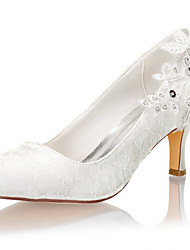 cheap -Women's Wedding Shoes Stiletto Heel Round Toe Pearl / Sequin Satin Spring &  Fall / Summer Ivory / Party & Evening