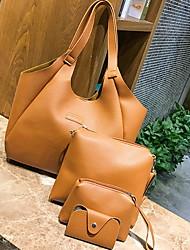 cheap -Women's PU Bag Set Solid Color 4 Pieces Purse Set Black / Brown / Blushing Pink