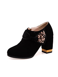 cheap -Women's Boots Chunky Heel Round Toe Crystal Suede Booties / Ankle Boots Chinoiserie Spring &  Fall / Fall & Winter Black / Red / Wedding / Party & Evening