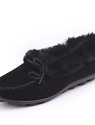 cheap -Women's Flats Flat Heel Round Toe Suede Winter Black / Brown / Khaki
