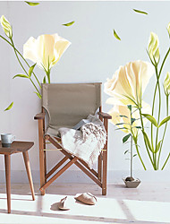 cheap -Romantic white lily living room TV background wall decoration removable sticker AY9152