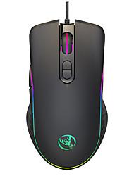 cheap -HXSJ A867B Wired USB Optical Gaming Mouse / Ergonomic Mouse RGB Light 6400 dpi 4 Adjustable DPI Levels 7 pcs Keys