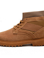 cheap -Men's Suede Shoes Suede Fall & Winter Boots Booties / Ankle Boots Black / Camel / Beige