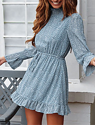 cheap -Women's Blue Beige Dress Elegant Chiffon Floral S M
