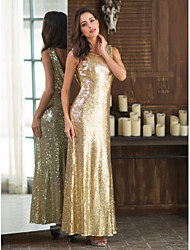 cheap -Sheath / Column Scoop Neck Floor Length Sequined Beautiful Back / Gold Party Wear / Formal Evening Dress with Sequin 2020