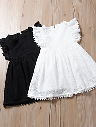cheap -Kids Girls' Active Cute Solid Colored Lace Tassel Sleeveless Knee-length Dress Black