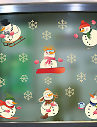 cheap -MU80019 Christmas Wall Sticker New Creative Sticker Christmas Snowman Snowflake Background Wall Sticker Can be removed