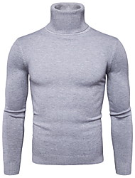 cheap -Men's Color Block Long Sleeve Pullover Sweater Jumper, Turtleneck Winter Black / Wine / White M / L / XL