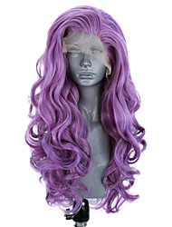 cheap -Synthetic Lace Front Wig Wavy Side Part Lace Front Wig Long Purple Synthetic Hair 18-26 inch Women's Adjustable Heat Resistant Party Purple