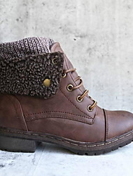 cheap -Women's Boots Snow Boots Flat Heel Round Toe Booties Ankle Boots Daily Suede Black Yellow Khaki / Booties / Ankle Boots / Booties / Ankle Boots