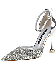 cheap -Women's Wedding Shoes Stiletto Heel Pointed Toe Sequin Synthetics Minimalism Fall / Spring & Summer Black / Gold / Silver / Party & Evening